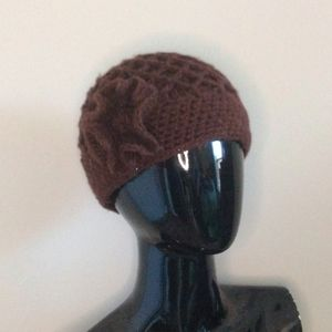 Vintage Brown Crochet Knit Cloche Stocking Cap